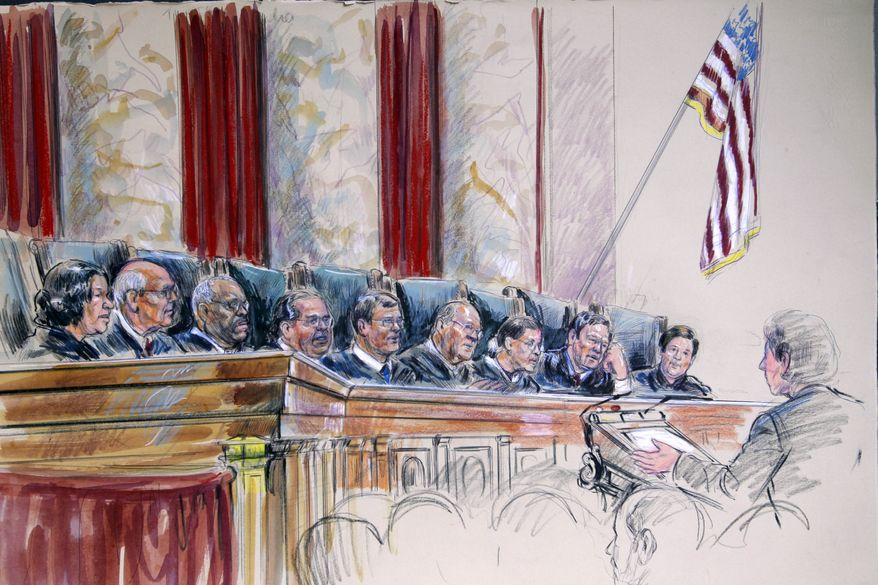 ** FILE ** An artist's rendering shows the newest Supreme Court justice, Elena Kagan (right), during a hearing at the court in Washington on Monday, Oct. 4, 2010. Seated (from left) are Justices Sonia Sotomayor, Stephen G. Breyer, Clarence Thomas, Antonin Scalia; Chief Justice John G. Roberts Jr.; and Justices Anthony M. Kennedy, Ruth Bader Ginsburg, Samuel A. Alito Jr. and Elena Kagan. (AP Photo/Dana Verkouteren)