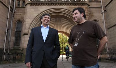 "Professor Andre Geim, left, and Dr Konstantin Novoselov who have have been awarded the Nobel Prize for Physics are seen outside Manchester University, Manchester, England, Tuesday, Oct, 5, 2010. The  scientists shared the Nobel Prize in physics on Tuesday for ""groundbreaking experiments"" with the thinnest, strongest material known to mankind  a carbon vital for the creation of faster computers and transparent touch screens. (AP Photo/Jon Super)."