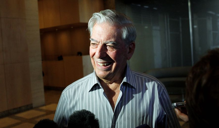 "Winning the Nobel Prize for literature ""is totally unexpected, a real surprise,"" Mario Vargas Llosa tells reporters. (Associated Press)"