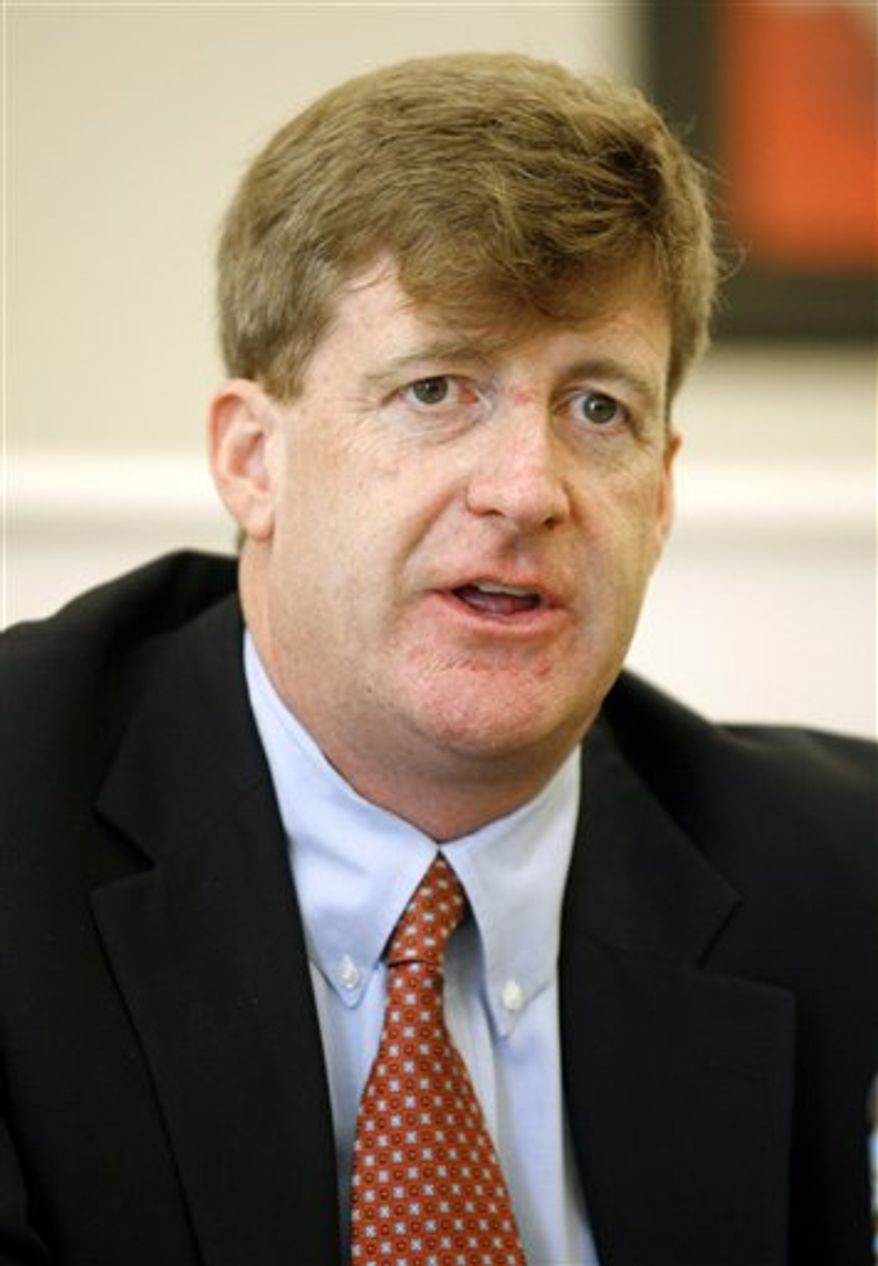 FILE - In this Aug. 30, 2010 file photo, Rep. Patrick Kennedy, D-R.I., talks during a discussion on workforce development held at Local 51 facility in East Providence, R.I. (AP Photo/Stew Milne, file)
