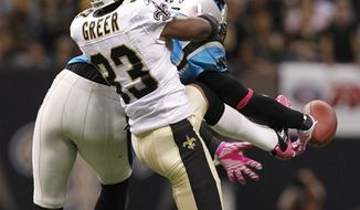 Carolina Panthers wide receiver Steve Smith (89) leaves the field on a cart after being injured in an NFL football game agains the the New Orleans Saints in New Orleans, Sunday, Oct. 3, 2010. The Saints defeated the Pantyhers 16-14.    (AP Photo/Bill Haber)