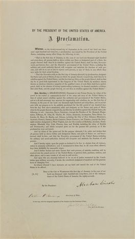 This undated photo provided by Sotheby's shows a printed copy of the Emancipation Proclamation signed by Abraham Lincoln that was owned by the late Robert F. Kennedy. It will be auctioned in New York City in December and is estimated to bring up to $1.5 million.(AP Photo/Sotheby's)