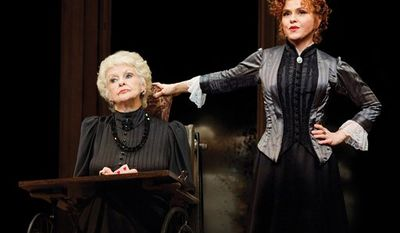 """In this theater publicity image released by Boneau/Bryan-Brown, Inc., Elaine Stritch, left, and Bernadette Peters are shown in a scene from """"A Little Night Music,"""" at the Walter Kerr Theatre in New York. (AP Photo/Boneau/Bryan-Brown, Inc., Joan Marcus)"""