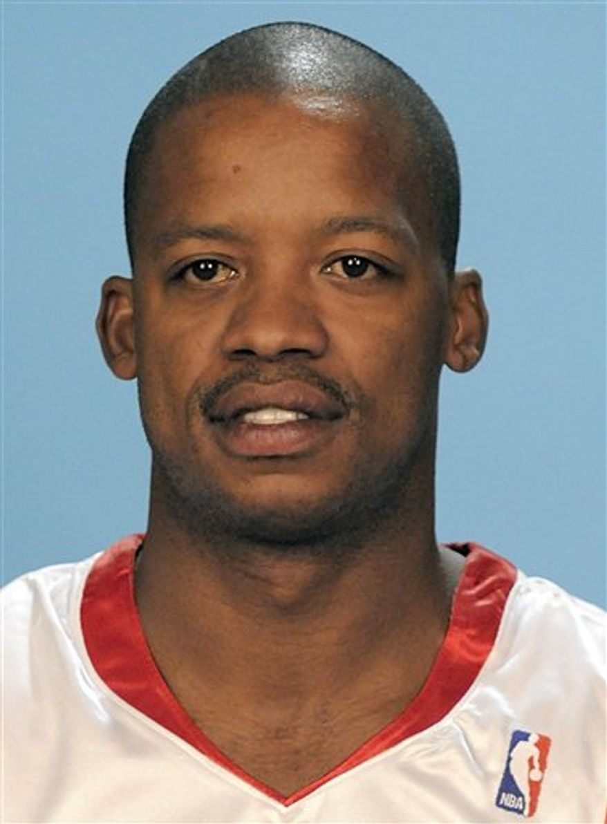 FILE - In this Sept. 29, 2009, file photo,  former Houston Rockets basketball player Steve Francis is photographed in Houston. Los Angeles International Airport police say three-time NBA all-star Francis was booked for alleged public drunkenness. An airport spokesman says Francis was arrested Thursday night, Oct. 7, 2010, because he was intoxicated, unable to care for himself and was combative toward staff. (AP Photo/Pat Sullivan, File)
