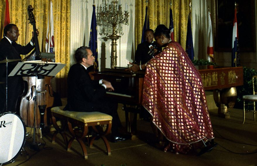President Nixon and Pearl Bailey perform in 1974. (The White House)
