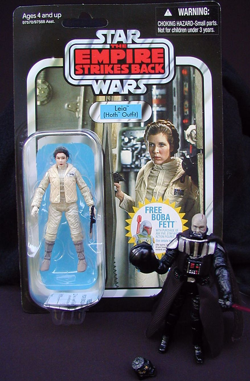 Leia (Hoth outfit) with Darth Vader from Hasbro's Star Wars Vintage Collection (Photograph by Jacquie Kubin/Special to The Washington Times)