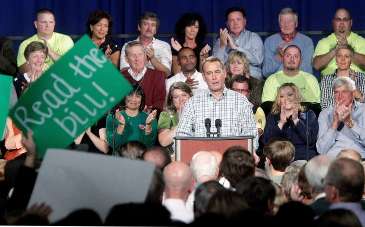 """ASSOCIATED PRESS """"We need a new majority in Congress that will stand up to President Obama and insist that he starts listening to the American people,"""" House Minority Leader John A. Boehner, Ohio Republican, said at a rally at a manufacturing facility in his home state."""