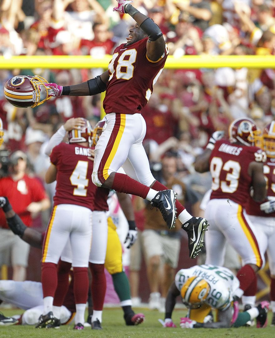 ASSOCIATED PRESS Washington Redskins linebacker Brian Orakpo celebrates the Redskins' 16-13 victory in overtime of an NFL football game against the Green Bay Packers in Landover, Md., Sunday, Oct. 10, 2010.