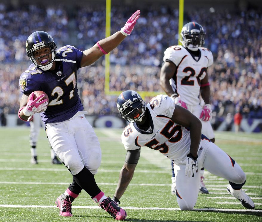 ASSOCIATED PRESS Baltimore Ravens  running back Ray Rice (27) celebrates in front of Denver Broncos linebacker D.J. Williams (55) and safety Brian Dawkins (20) after scoring a touchdown during the second half of an NFL football game in Baltimore, Sunday, Oct. 10, 2010.