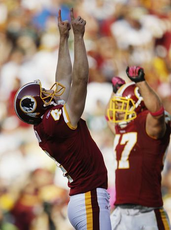 ASSOCIATED PRESS Washington Redskins' Graham Gano celebrates his game-winning field goal during overtime in an NFL football game against the Green Bay Packers in Landover, Md., Sunday, Oct. 10, 2010. Washington won 16-13.
