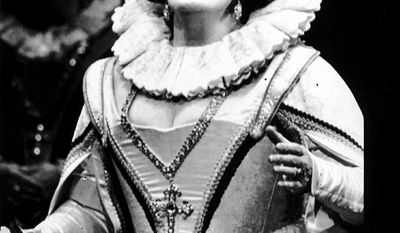 "** FILE ** Dame Joan Sutherland sings the role of Marguerite De Valois in an Australian Opera production of ""Les Huguenots"" in 1990."