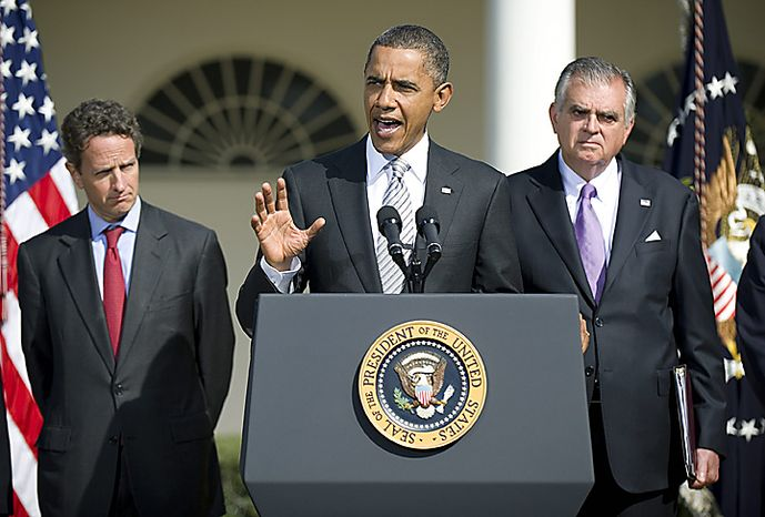 President Barack Obama (C) speaks alongside Transportation Secretary Ray LaHood (R) and Treasury Secretary Timothy Geithner as he delivers a statement on transportation infrastructure, in the Rose Garden at the White House in Washington, October 11, 2010.  UPI/Kevin Dietsch