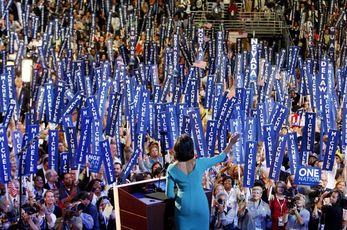 ASSOCIATED PRESS Michelle Obama speaks at the 2008 Democratic National Convention in Denver. The first lady is venturing out this week to support a group of candidates, mostly senators, needed by President Obama to get his agenda through Congress.