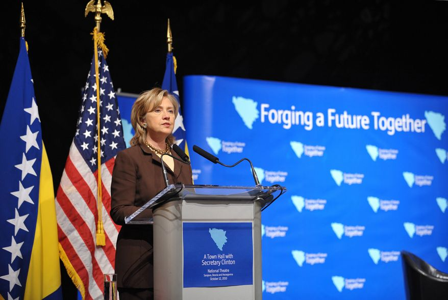 Secretary of State Hillary Rodham Clinton speaks during a town-hall meeting at the National Theatre in Sarajevo, Bosnia-Herzegovina, on Tuesday, Oct. 12, 2010. She also met with the country's newly elected leaders to urge them to make European Union membership a priority. (AP Photo/Mandel Ngan, Pool)