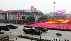In this photo released by China's Xinhua news agency, North Korean missiles on the trucks make its way during a massive military parade to mark the 65th anniversary of the communist nation's ruling Workers' Party in Pyongyang, North Korea on Sunday, Oct. 10, 2010. This year's celebration comes less than two weeks after Kim Jong Il's re-election to the party's top post and the news that his 20-something son would succeed his father and grandfather as leader. (AP Photo/Xinhua, Yao Dawei)