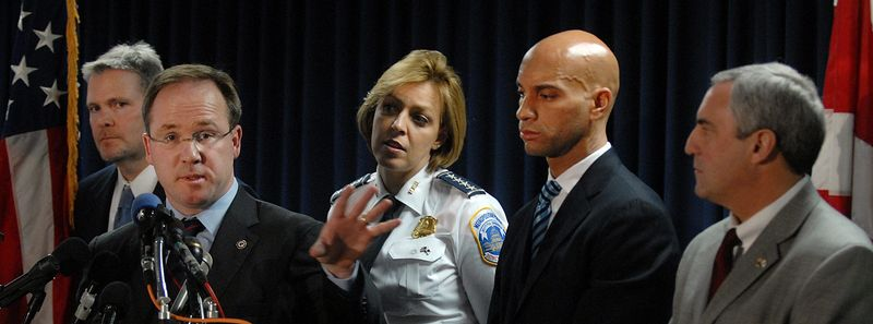 D.C. Mayor Adrian M. Fenty (second from right); Joseph Persichini Jr., assistant director in charge of the FBI's Washington field office (right); Metropolitan Police Chief Cathy L. Lanier; U.S. Attorney Jeffrey Taylor (second from left) and Detective Todd Williams attend a press conference on March 3, 2009, at which it was announced that an arrest warrant had been issued in the Levy case. (The Washington Times)