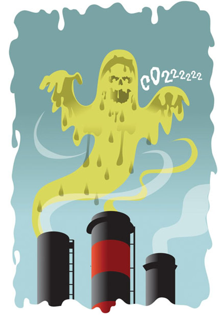 Illustration: CO2 monster by Linas Garsys for The Washington Times