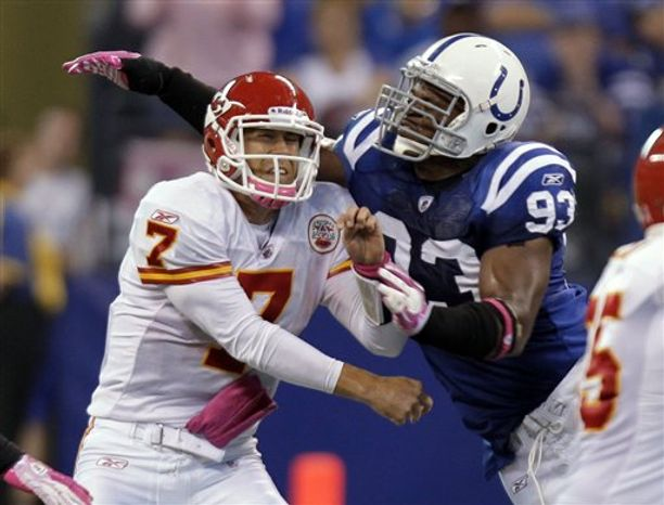 Indianapolis Colts quarterback Peyton Manning shouts instructions to the offense during the fourth quarter of an NFL football game against the Kansas City Chiefs in Indianapolis, Sunday, Oct. 10, 2010. Indianapolis won 19-9. (AP Photo/Darron Cummings)