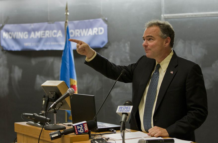 ** FILE ** Democratic National Committee Chairman Tim Kaine addresses a rally at the University of Delaware on Tuesday, Sept. 28, 2010, in Newark, Del. (AP Photo/Rob Carr)