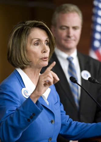 ASSOCIATED PRESS House Speaker Nancy Pelosi  of Calif., accompanied by Rep. Chris Van Hollen, D-Md., gestures during a news conference on Capitol Hill in Washington, Thursday, Sept. 30, 2010.