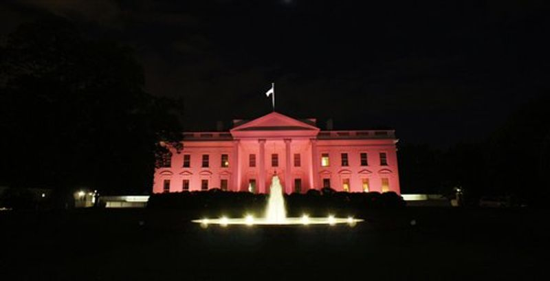 The White House is bathed in pink light in recognition of October as National Breast Cancer Awareness Month, Thursday, Oct. 14, 2010, in Washington. (AP Photo/Charles Dharapak)