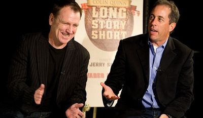 "Colin Quinn discusses ""Long Story Short"", his one-man theatrical show moving to Broadway, at a news conference in New York, Tuesday, Oct. 12, 2010. (AP Photo/Charles Sykes)"