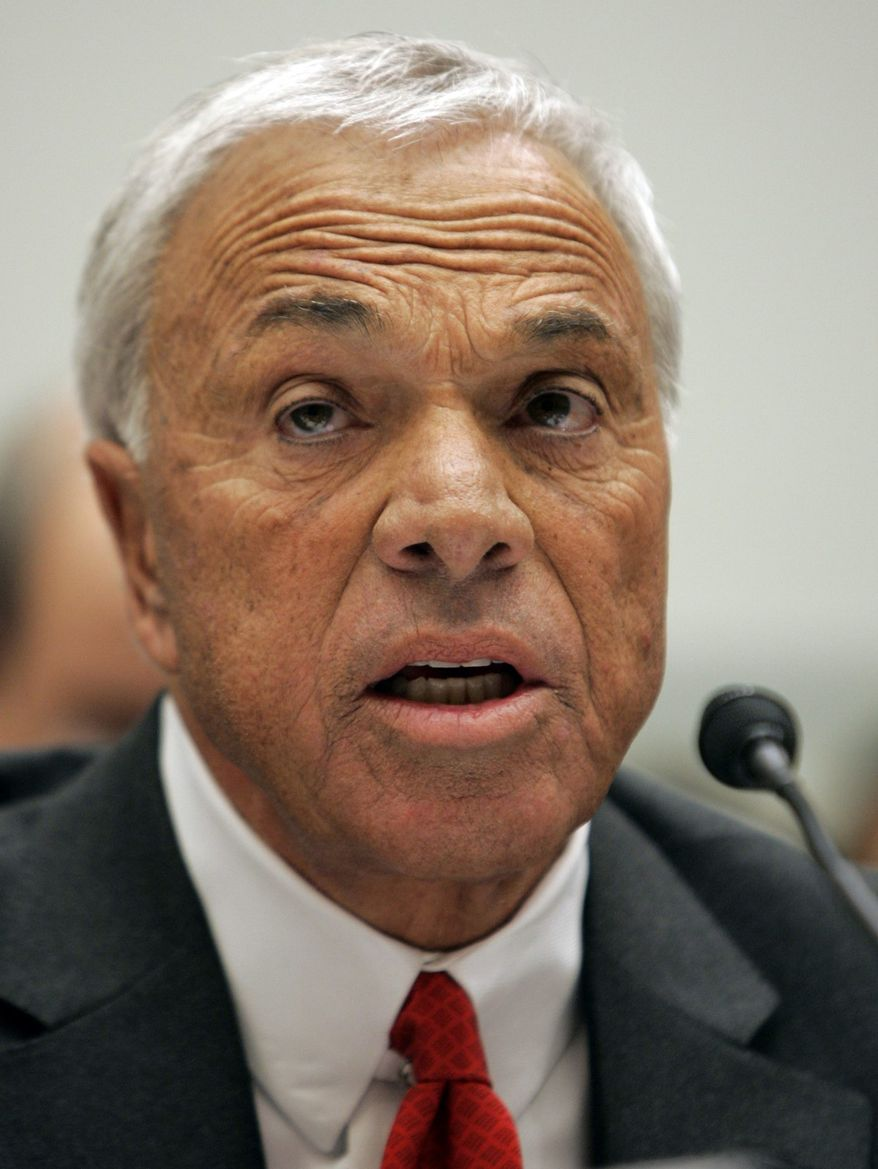 ** FILE ** This March 7, 2008, file photo shows Angelo Mozilo, founder and former CEO of Countrywide Financial Corp., testifying before the House Oversight and Government Reform Committee hearing on Capitol Hill in Washington. (AP Photos/Susan Walsh, File)