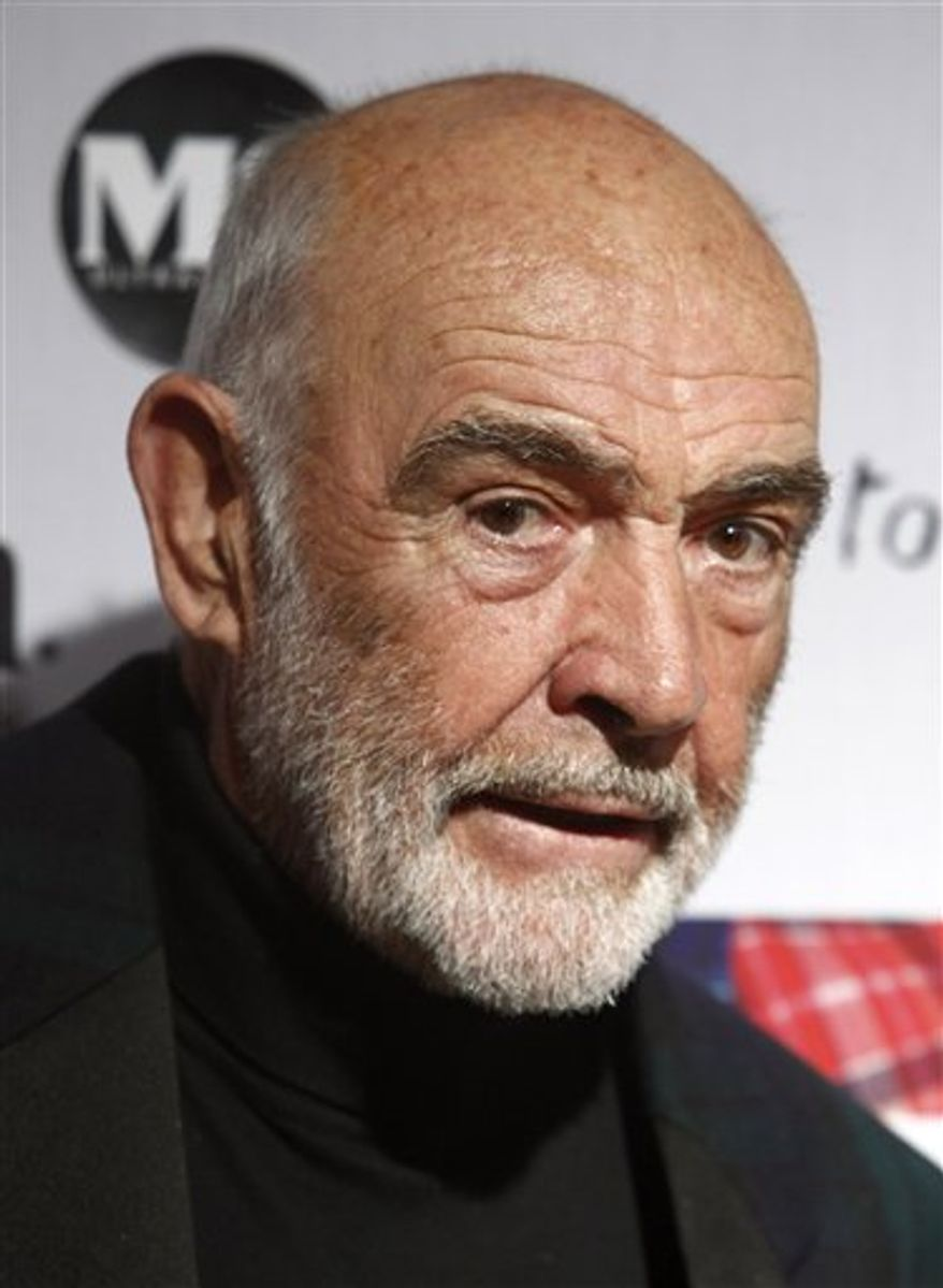 "FILE - Actor Sean Connery attends the 8th annual Dressed To Kilt charity fashion show in New York, in this April 5, 2010 file photo. A Spanish court official says Sean Connery won't be appearing in court as requested by a judge investigating an allegedly shady real estate deal known in Spain as the ""Goldfinger Case."" The official says the 72-year-old actor sent the judge a letter explaining he cannot travel to Spain because of his age and unspecified health issues. (AP Photo/Peter Kramer, File)"