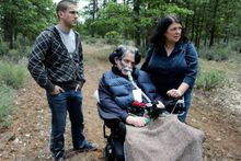 """In the late stages of life in June, Sall made one more visit to the wilderness he loved to show his wife, Teri, and son, David, where he wanted to be buried. """"I have been a hiker and a climber, as we drove in I felt very comfortable, like going home,"""" he said. (Associated Press)"""