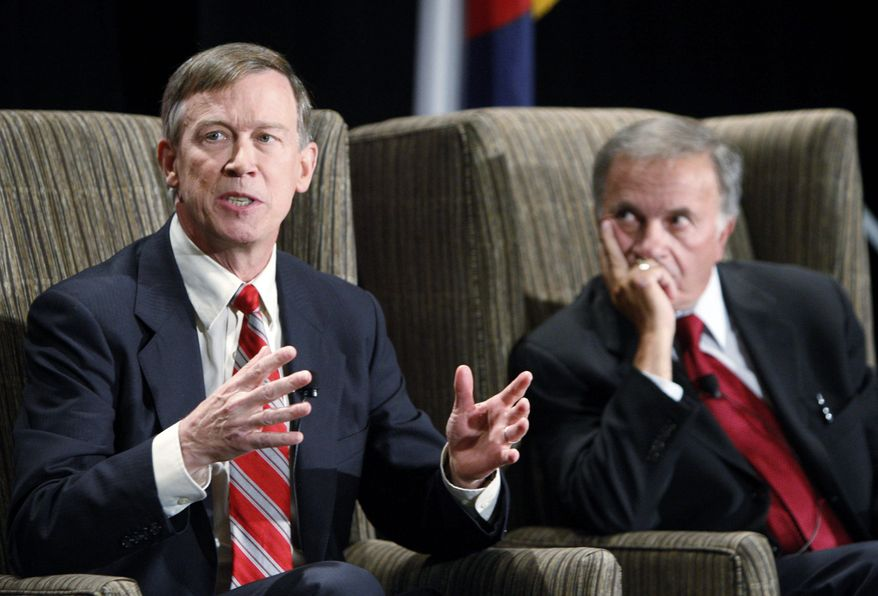 Colorado Democratic gubernatorial candidate John Hickenlooper (left) has thus far refrained from going negative against his chief rival, American Constitution Party candidate Tom Tancredo (right), in his campaign ads. (Associated Press)
