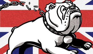 Illustration: English bulldog by Alexander Hunter for The Washington Times