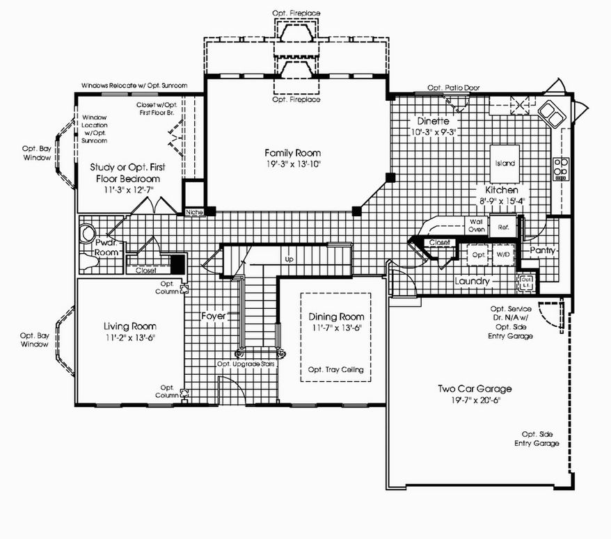 The Avalon model includes a two-story family room with a fireplace and a wall of windows on the main level, along with a center-island kitchen and breakfast area, a study, a living room and a formal dining room. Upstairs are four bedrooms and two full baths.