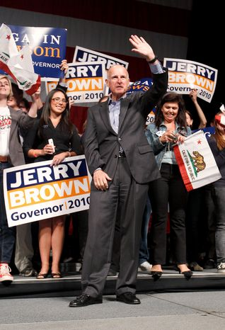 ASSOCIATED PRESS PHOTOGRAPHS Democratic gubernatorial candidate Jerry Brown leads Republican Meg Whitman by 8 points, according to a new poll. Mr. Brown got 44 percent of likely voters to 36 percent for Ms. Whitman, with 16 perc