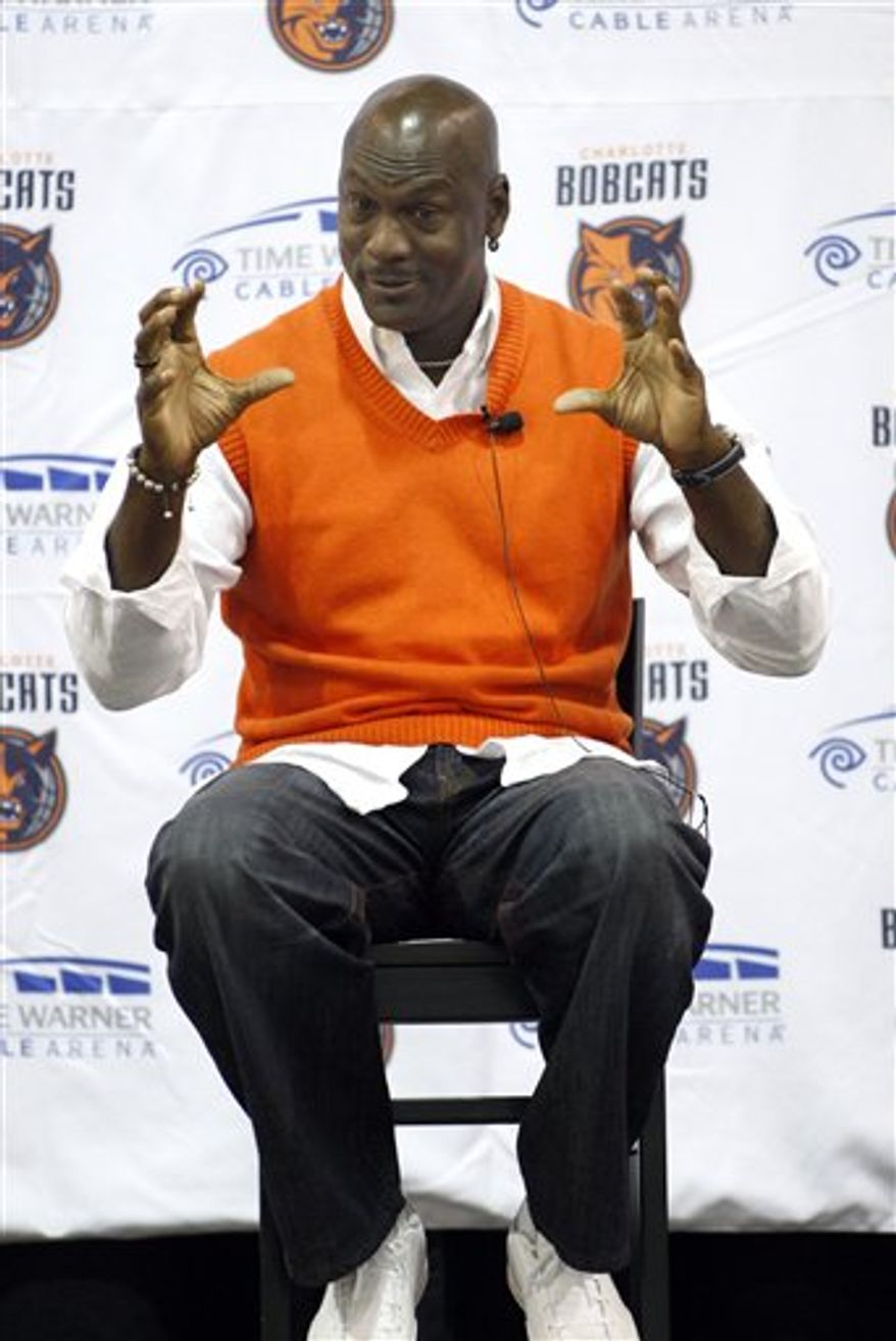 Charlotte Bobcats owner Michael Jordan talks about the upcoming season during a town hall with season ticket holders before a game on Friday, Oct. 22, 2010 in Charlotte, N.C. (AP Photo/Nell Redmond)