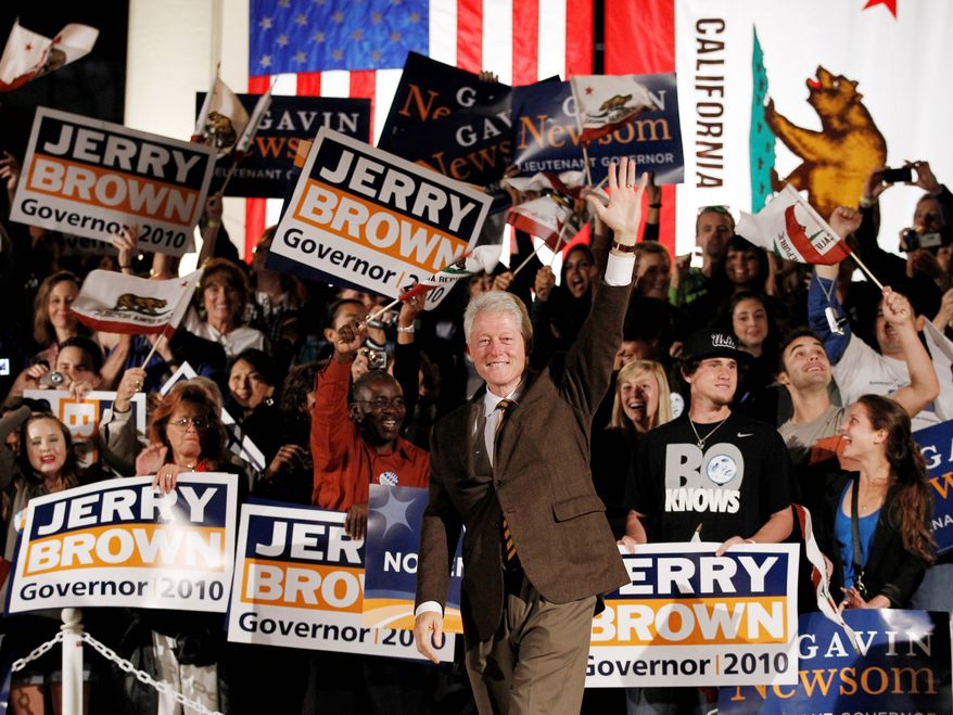 CREDIT Ex-President Bill Clinton gets a rousing welcome at a campaign event for Jerry Brown in Los Angeles, where he drew 6,000 people. His staff says he has campaigned for more than 65 candidates at nearly 100 events.