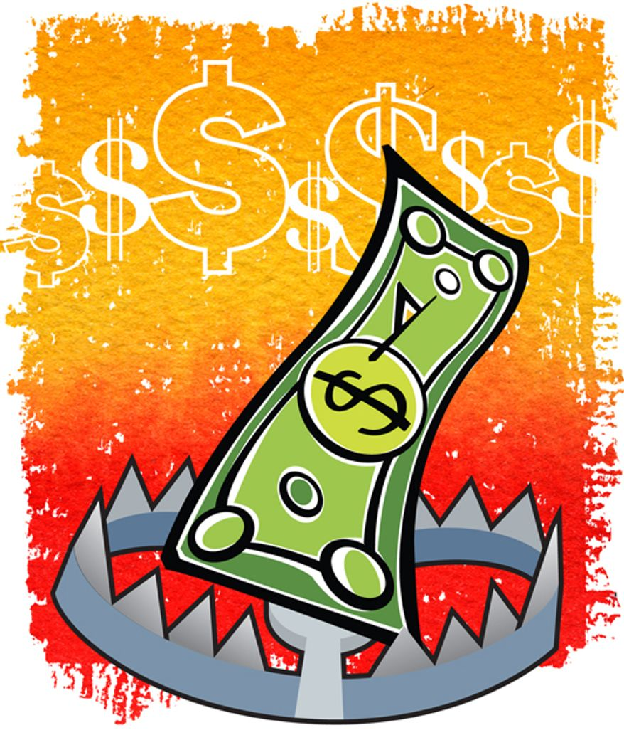Illustration: Tax trap by Greg Groesch for The Washington Times