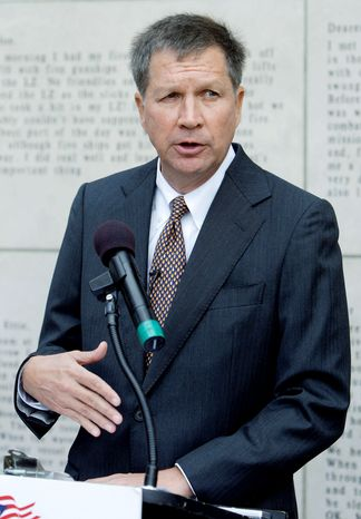 """Why is Barack Obama coming to Ohio for the 12th time?"" Mr. Kasich asked an audience on the stump on Monday. (Associated Press)"