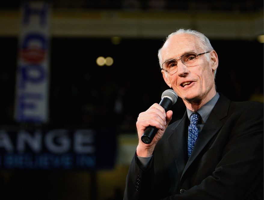Retired Gen. Merrill McPeak, seen here in March 2008 in Eugene, Ore., endorsing Barack Obama for president, disagrees with Mr. Obama's bid to end the military's ban on open gays. (Associated Press)