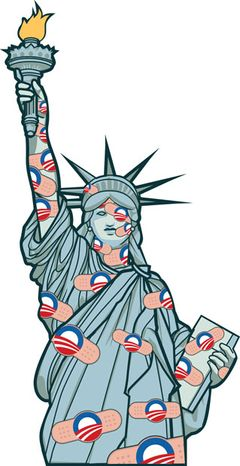Illustration: Obamacare Liberty by Linas Garsys for The Washington Times