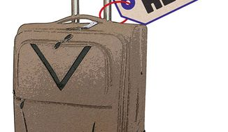 Illustration: Getaway luggage by Greg Groesch for The Washington Times