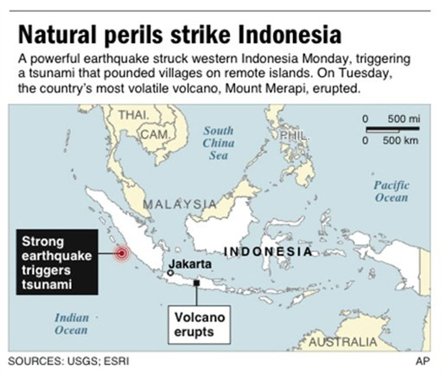 Map locates a strong earthquake that struck Indonesia Monday; includes location of Indonesian volcano that erupted Tuesday