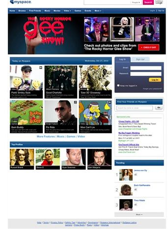 This screenshot shows the MySpace website page Wednesday Oct. 27, 2010. MySpace, the online social hub that's been fighting to stay relevant in the age of Facebook and Twitter, is overhauling its image and its website into an entertainment destination for its mostly younger audience. Starting Wednesday Oct