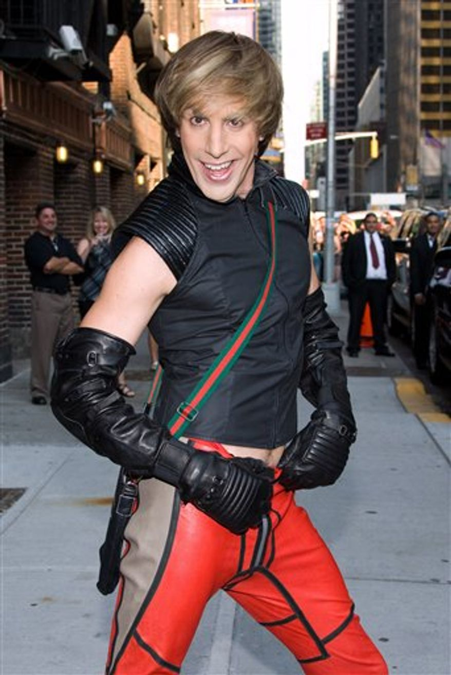 """FILE - In this July 7, 2009 file photo, actor Sacha Baron Cohen dressed as his character Bruno leaves a taping of """"The Late Show with David Letterman"""" in New York. (AP Photo/Charles Sykes, file)"""