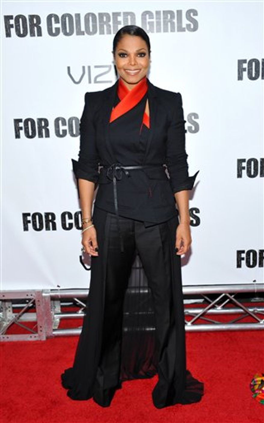Actress Janet Jackson attends a special screening of 'For Colored Girls' at the Ziegfeld Theatre on Monday, Oct. 25, 2010 in New York. (AP Photo/Evan Agostini)