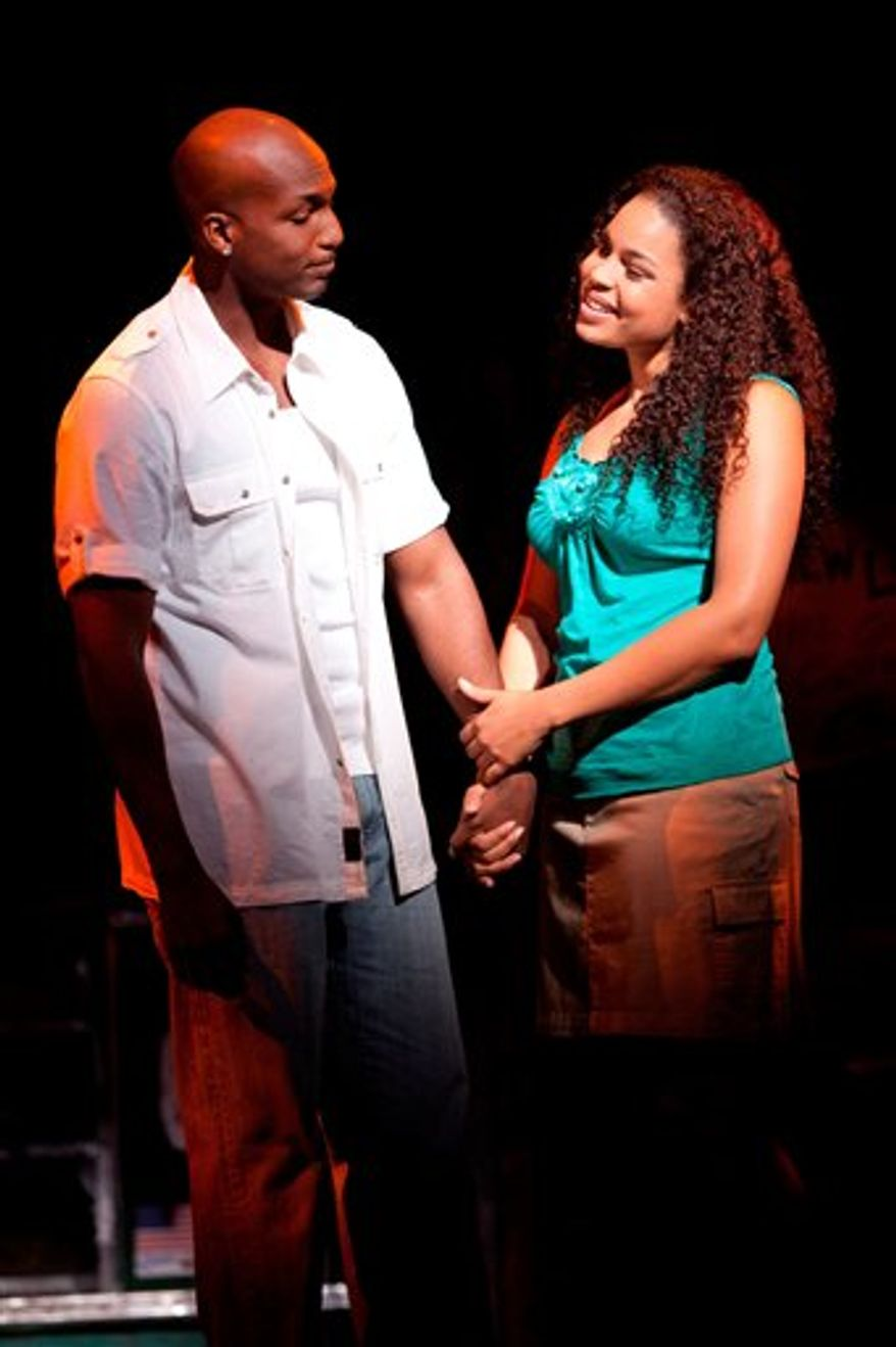 "In this theater publicity image released by The Hartman Group, Jordin Sparks, right, and Clifton Oliver are shown in a scene from, ""In the Heights,"" at the Richard Rodgers Theatre in New York. (AP Photo/The Hartman Group, Joan Marcus)"