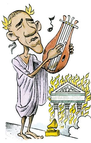 Illustration: Nerobama by Alexander Hunter for The Washington Times