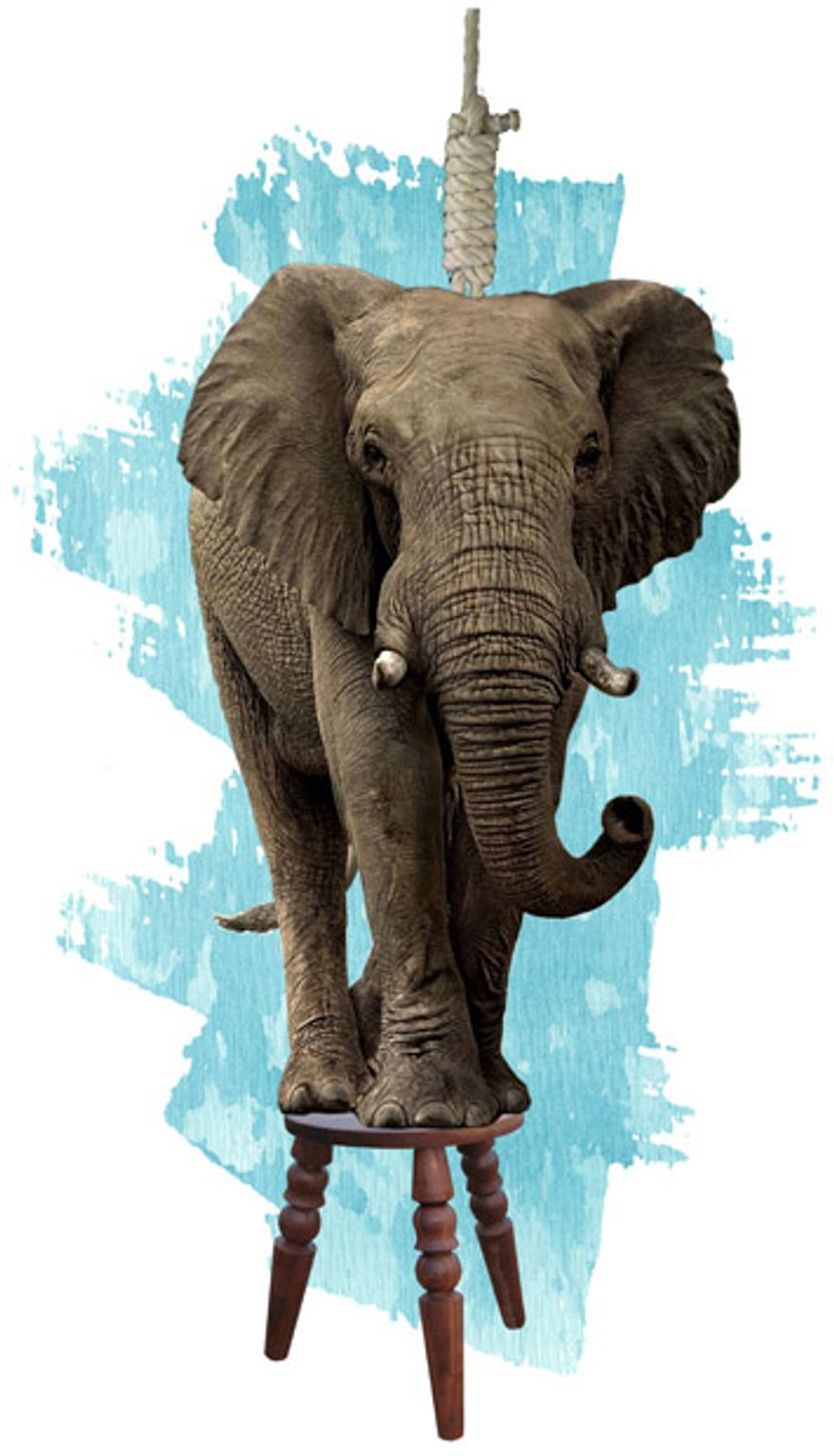 Illustration: Hanging elephant by Greg Groesch for The Washington Times