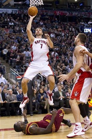 Toronto Raptors' Jarrett Jack dunks the ball during first half NBA basketball action against the Cleveland Cavaliers in Toronto Friday, Oct. 29, 2010. (AP Photo/The Canadian Press, Darren Calabrese)