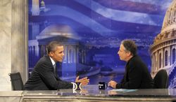 "President Obama is being interviewed by Jon Stewart on ""The Daily Show"" on Oct. 27, 2010. Mr. Stewart and Stephen Colbert's rally in Washington on Saturday, Oct. 30, 2010, is raising hopes of bringing change to the nation's political discourse. (AP Photo/Charles Dharapak, File)"
