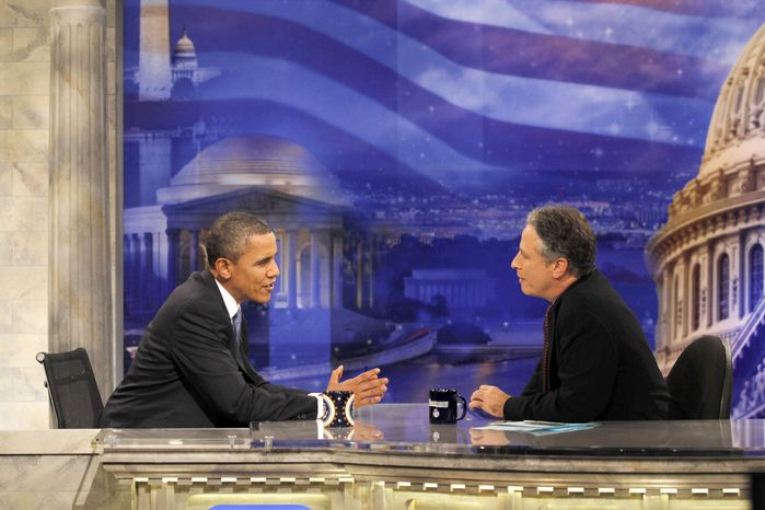"""President Obama is being interviewed by Jon Stewart on """"The Daily Show"""" on Oct. 27, 2010. Mr. Stewart and Stephen Colbert's rally in Washington on Saturday, Oct. 30, 2010, is raising hopes of bringing change to the nation's political discourse. (AP Photo/Charles Dharapak, File)"""